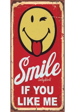 Hayat Poster Smile Gülümse (10 Cm X 20 Cm) Mini Retro Ahşap Poster