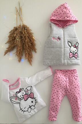 Hippıl Baby Kız Bebek Pembe Alt Üst Yelek Bunny 3 Parça Takım 6-12-18 Ay