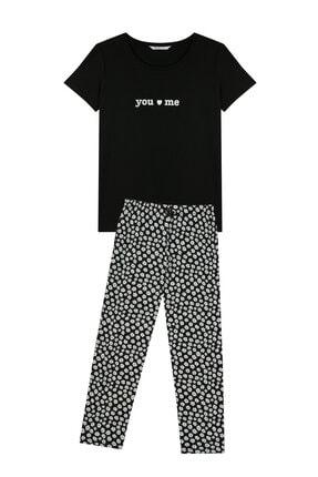 Penti Kadın Siyah You And Me Kapri Pijama Takımı
