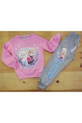 Frozen Kız Çocuk Pembe Elsa ve Anna Baskılı Eşofman Takımı