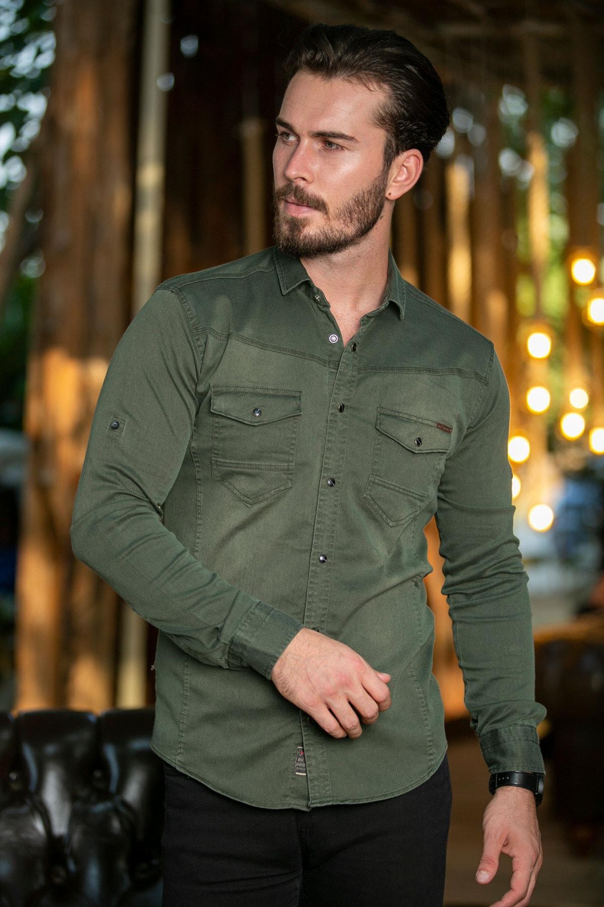 BAYEFENDİ Haki Cepli Kot Gömlek Slim Fit 2