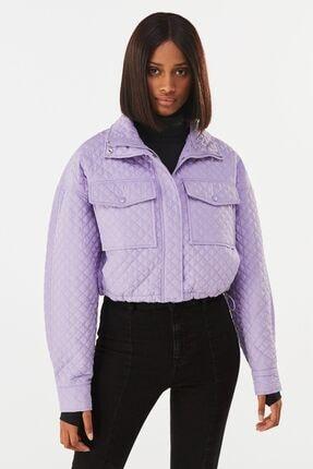 Bershka Kadın Mor Naylon Crop Ceket