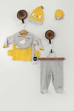 Miniworld Unisex Bebek Sarı Civciv Baskılı 5'li Takım