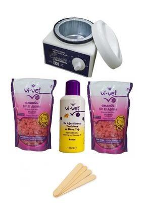 Vi-vet Pudralı Soyulabilir Ağda Seti, Makine, 2 Granül Boncuk Ağda, Ağda Yağı