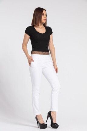 Jument Kadın Hafif Düşük Bel Cepli Duble Paça Ofis Likralı Kumaş Pantolon-beyaz