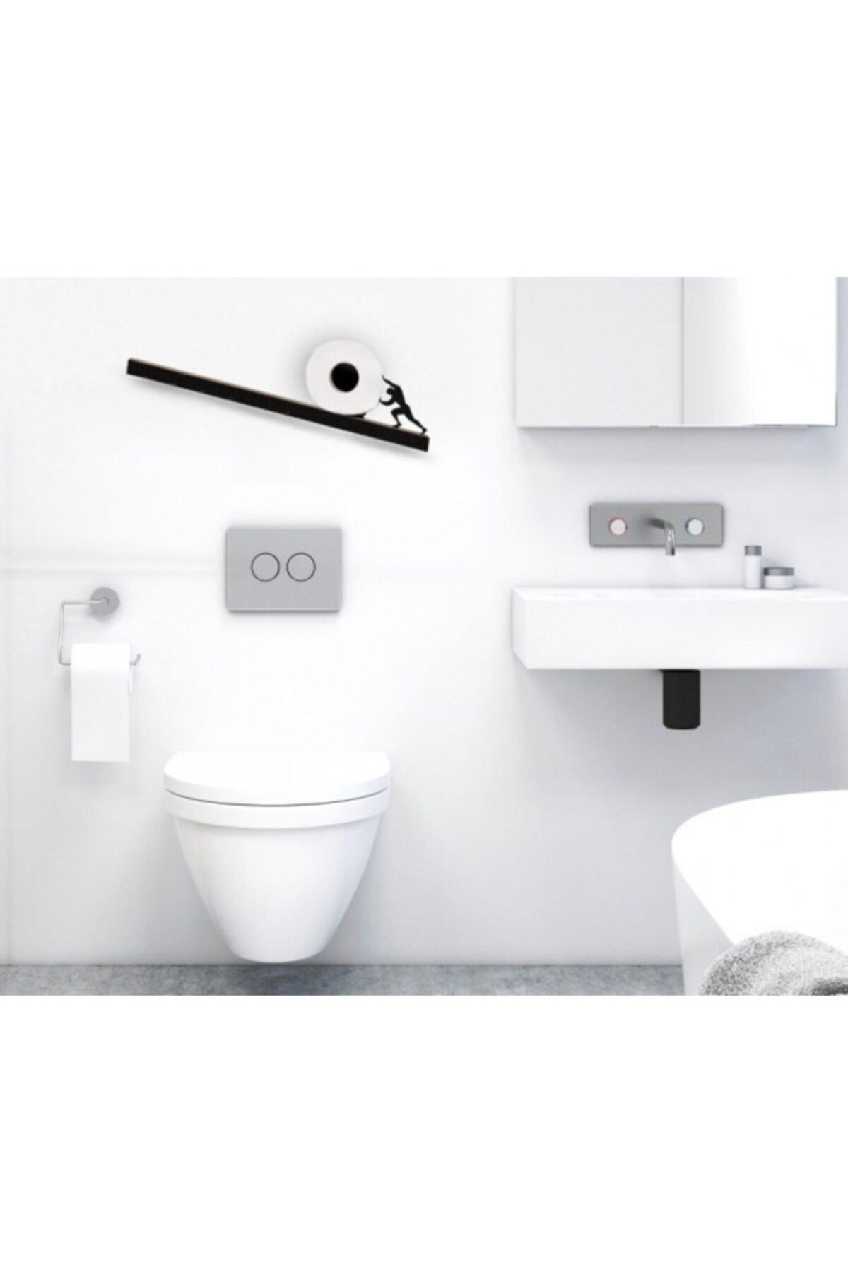 bluecape Sisyphos Figürlü Ahşap Demir Wc Banyo Rulo Peçete Tuvalet Kağıdı Standı Rafı Kampanyalı 2