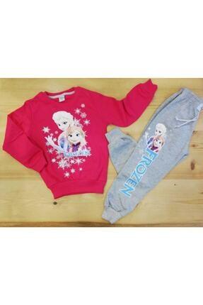 Frozen Kız Çocuk Pembe Elsa Ve Anna İki İplik Şardonlu Eşofman Takımı