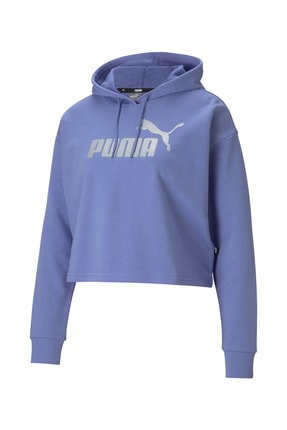 Puma Kadın Spor Sweatshirt - ESS+ Cropped Metallic Logo - 58689214
