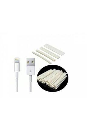 Çetin Iphone Şarj Kablosu Koruyucu Makaron 10 Adet 6 Cm Beyaz