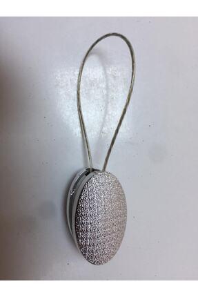 moda dadya Mıknatıslı Tül Perde Mandalı Oval - Perde Tokası Gümüş