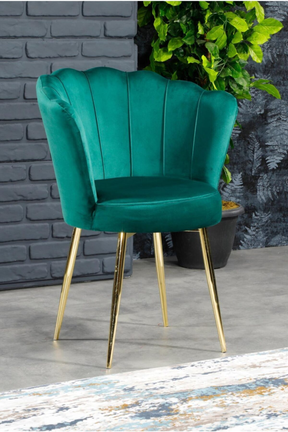 AYSU Sandalye Papatya Tekli Berjer Yeşil Altın Ayak 1