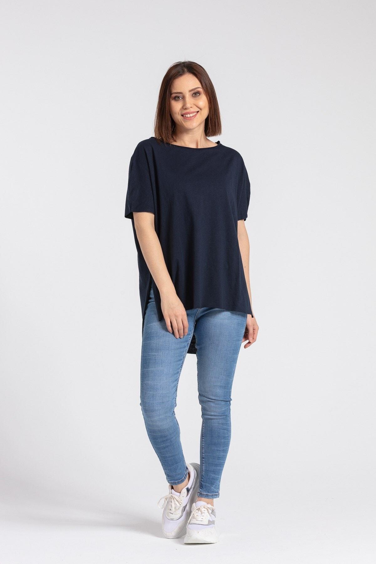 Jument Kadın Omuz Fermuarlı Salaş Pamuklu Basic Tshirt-lacivert 1