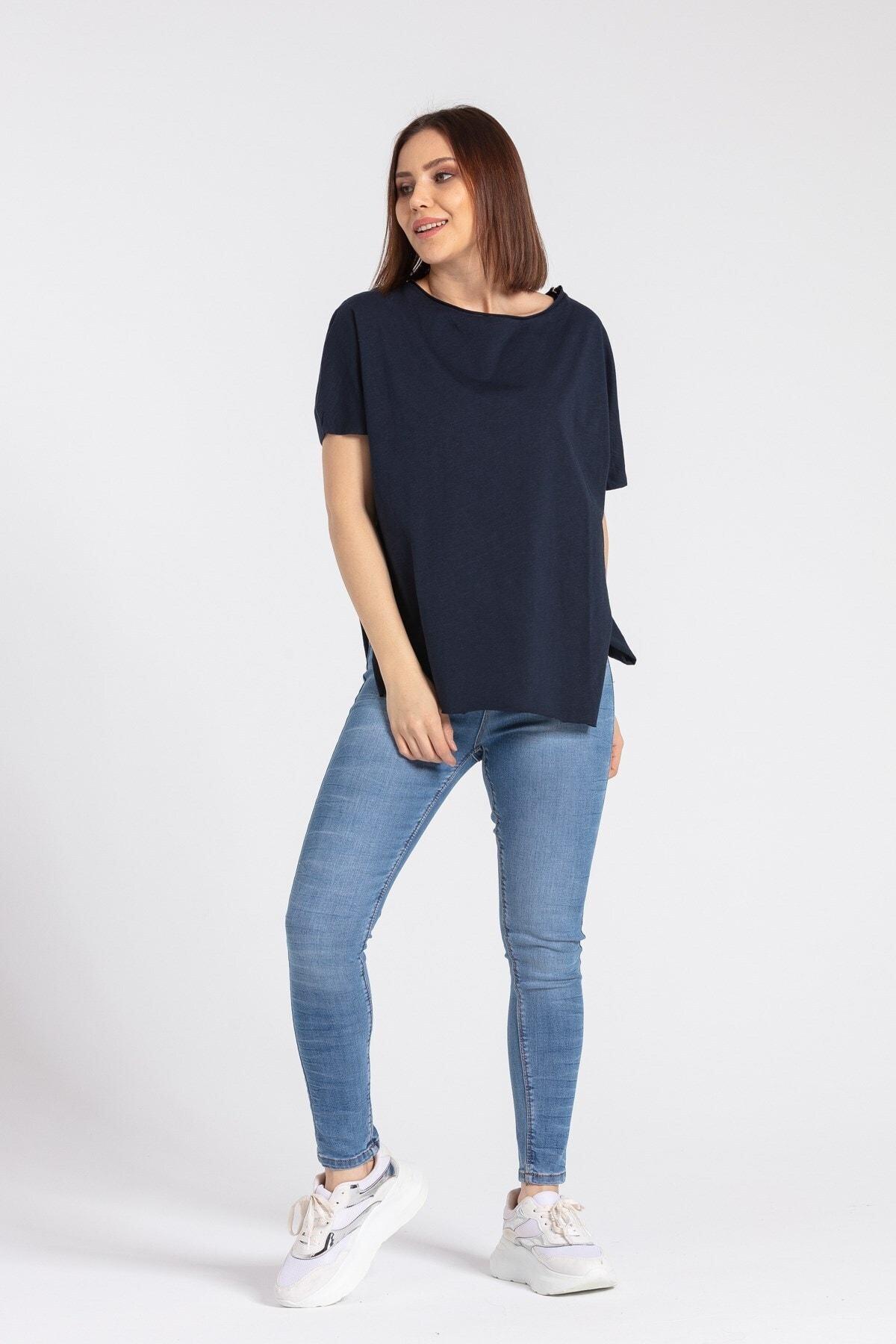 Jument Kadın Omuz Fermuarlı Salaş Pamuklu Basic Tshirt-lacivert 2