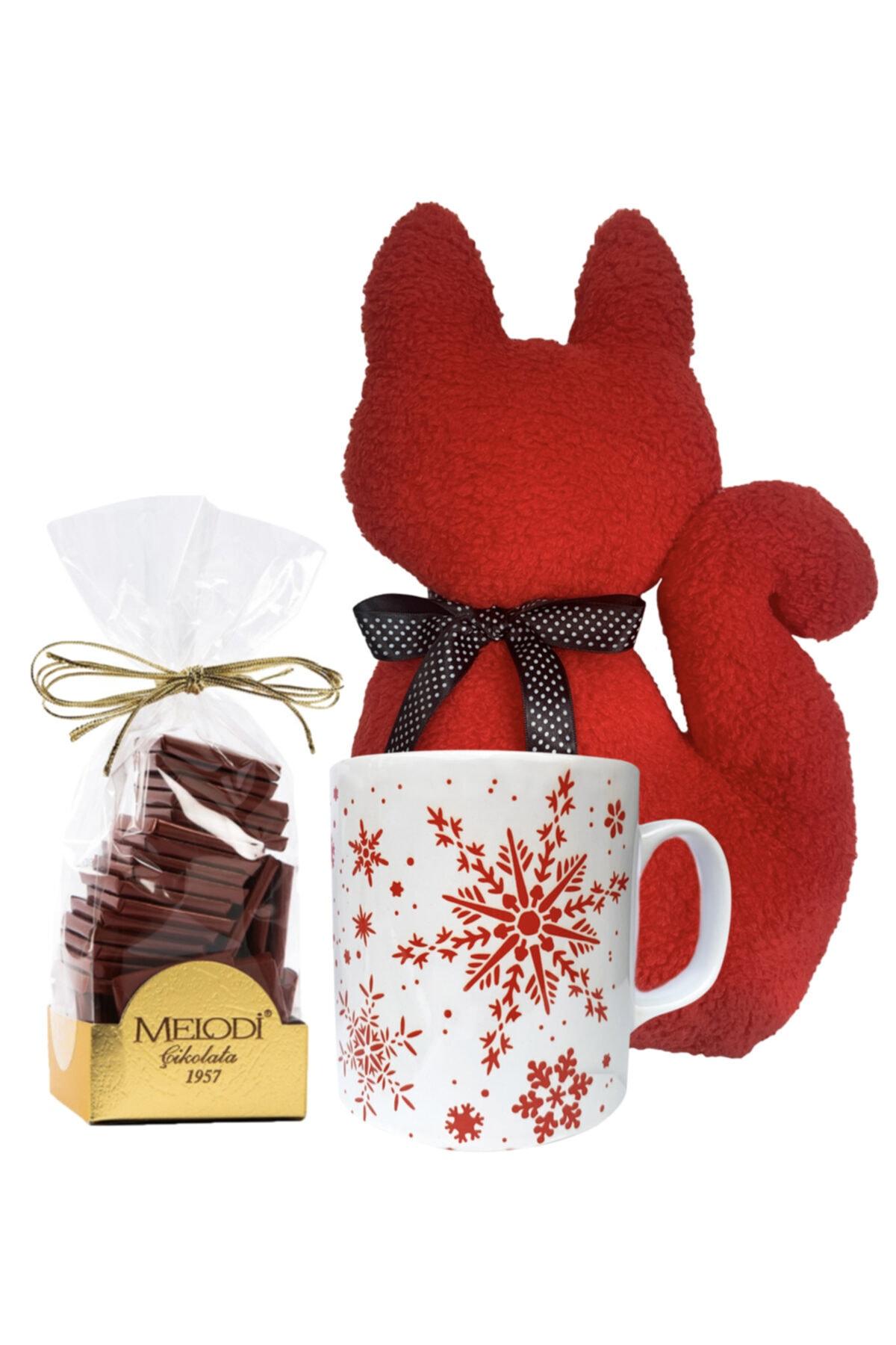 Vuggage Sevgililer Günü Konsept Hediye Seti - Kedi Yastık & Kar Taneli Kupa & Melodi Çikolata - Kırmızı 1
