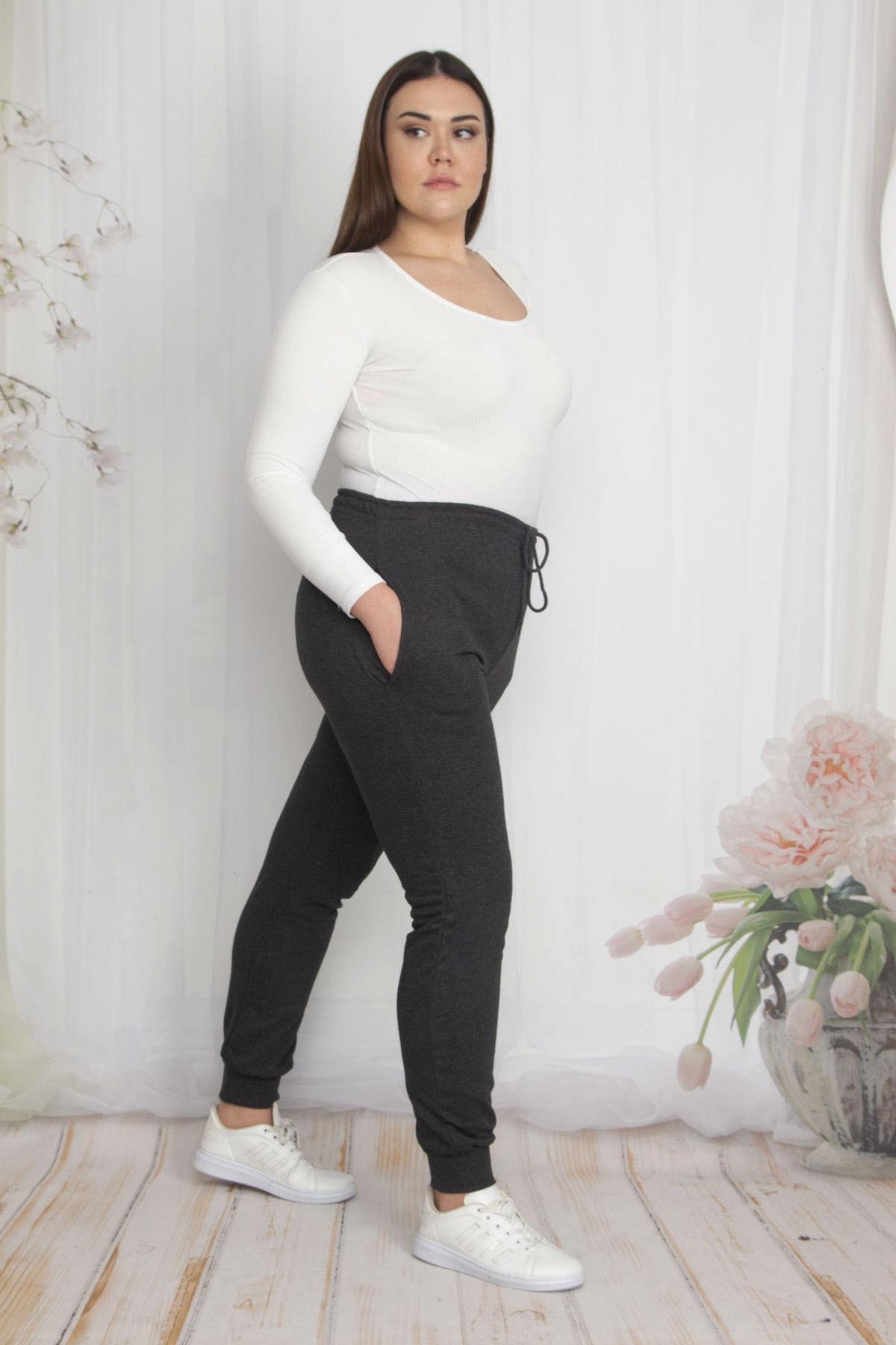 Şans Kadın Antrasit İçi Şardonlu Kumaş Cepli Bel Kısmı Lastikli Spor Pantolon 65N22210 1