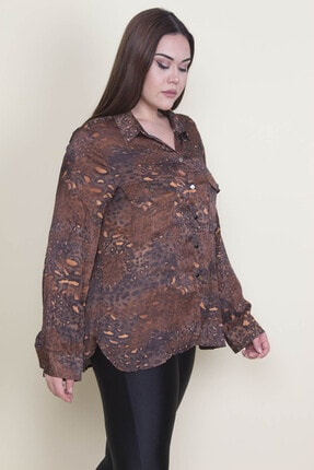 Şans Kadın Kahverengi Desenli Saten Cep Detaylı Bluz 65N22129