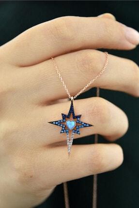 Papatya Silver 925 Ayar Gümüş Rose Kaplama Mavi Akışlı Kalpli Kutup Yıldızı Kolye