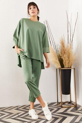 Olalook Kadın Mint Yeşili Paça Detaylı Cepli Krep Alt Üst Takım TKM-19000119