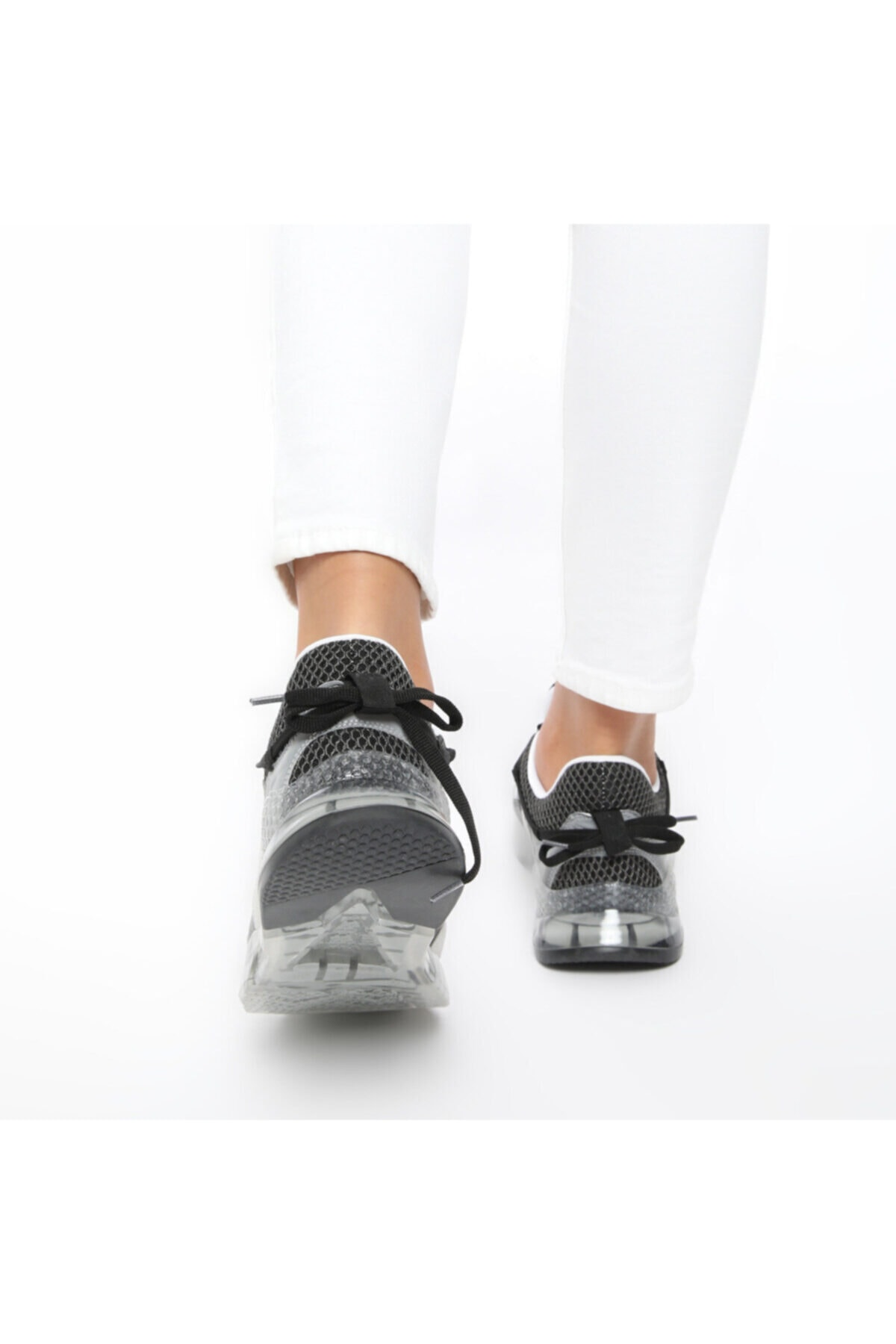Butigo 20S-550 Gri Kadın Kalın Taban Sneaker Spor Ayakkabı 100517489 2
