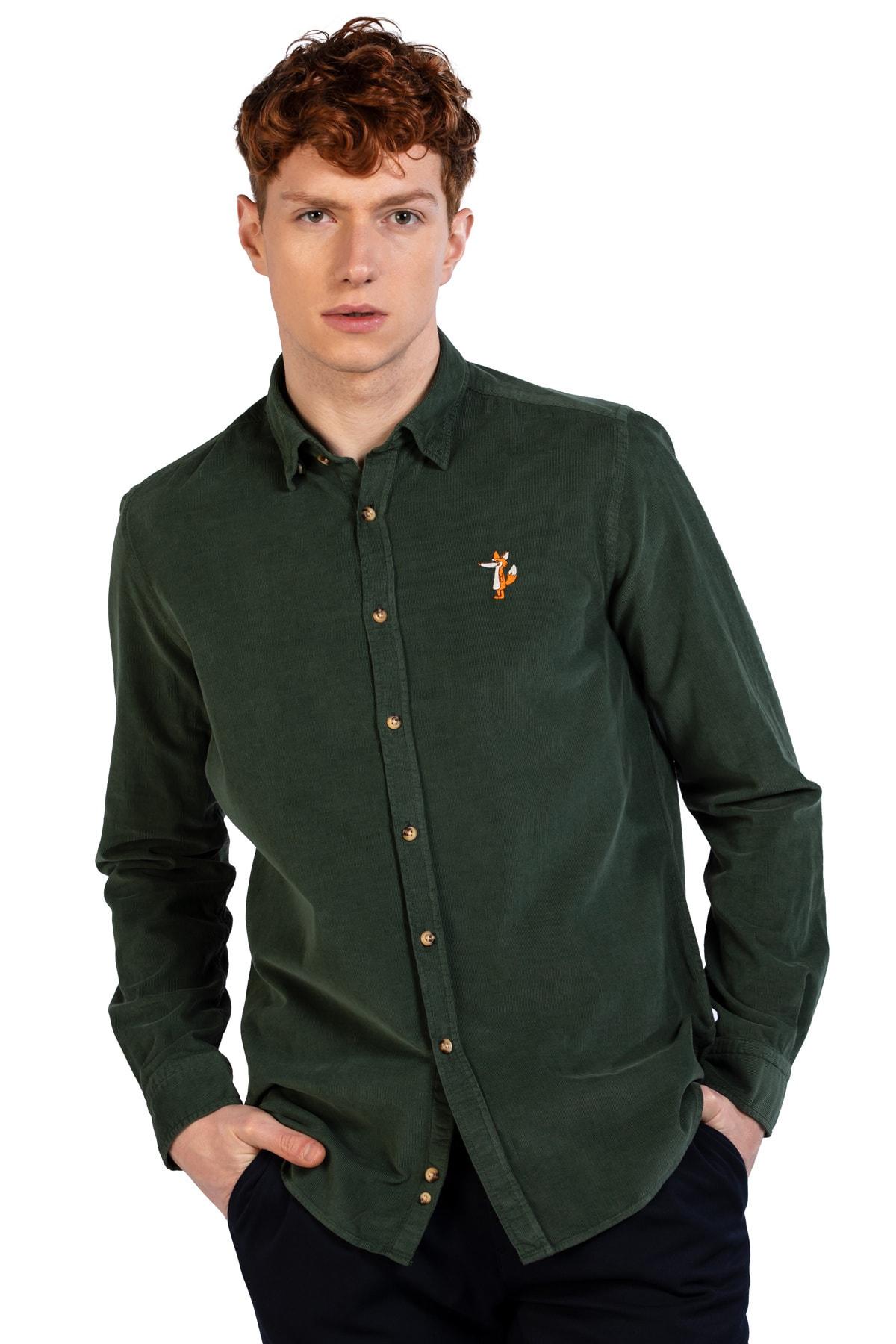 Ruck & Maul Erkek Yeşil Düz Yaka % 100 Pamuk Gömlek Ba1m0200071 21184 1