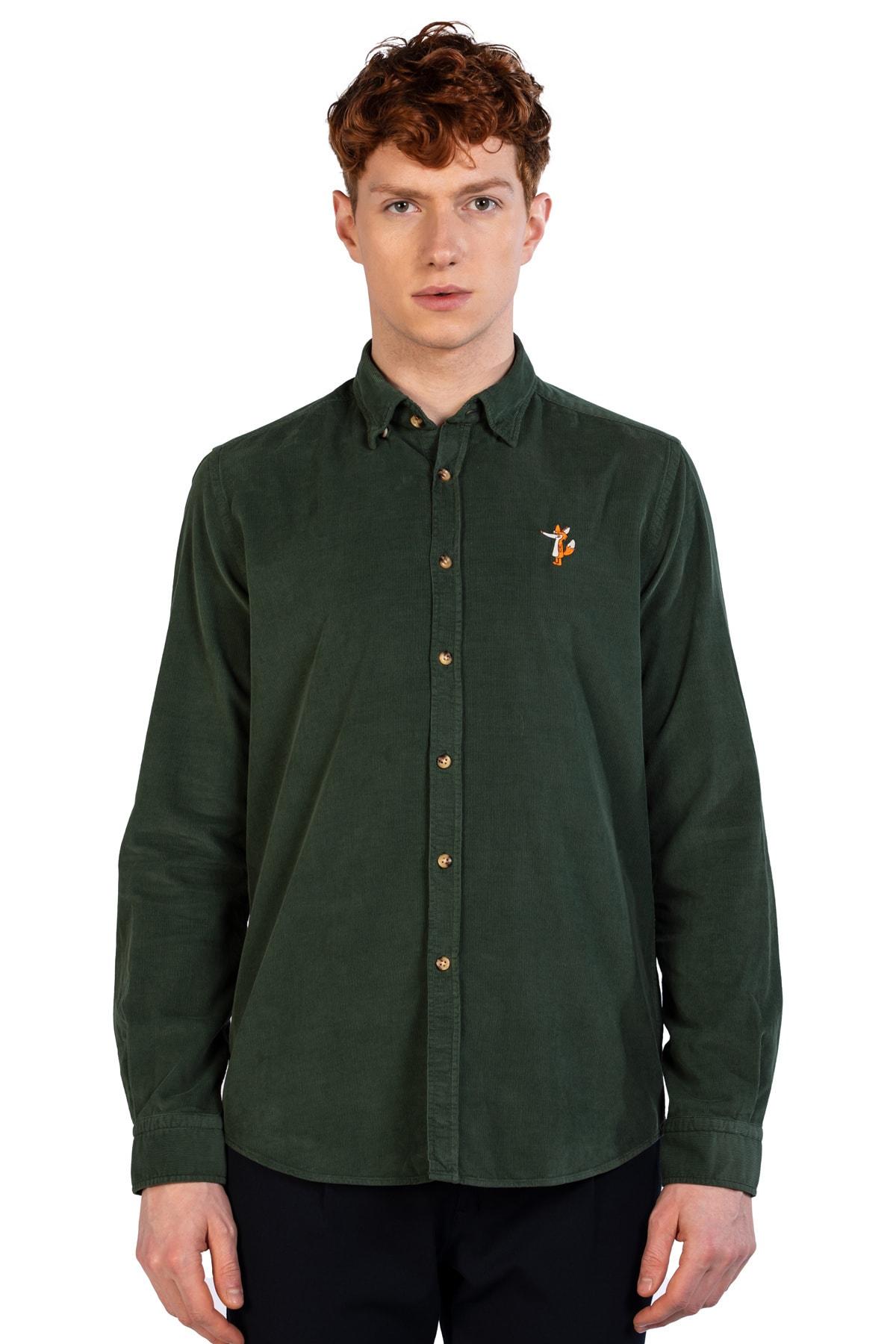 Ruck & Maul Erkek Yeşil Düz Yaka % 100 Pamuk Gömlek Ba1m0200071 21184 2