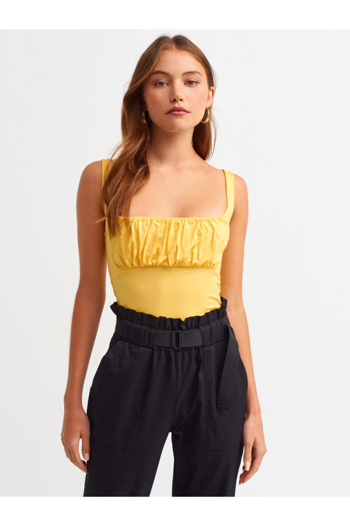 Dilvin 3562 Sıfır Kol Büzgü Detay T-shirt-sarı 1