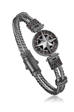 Toms Jewelry Erkek Siyah Pusula Zirkon Bileklik Tmj11125-1225-b
