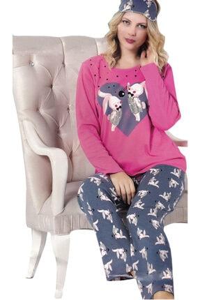 Çekmece Kadın Koyu Pembe Desenli Uzun Kol Pamuklu Pijama Takım 2749
