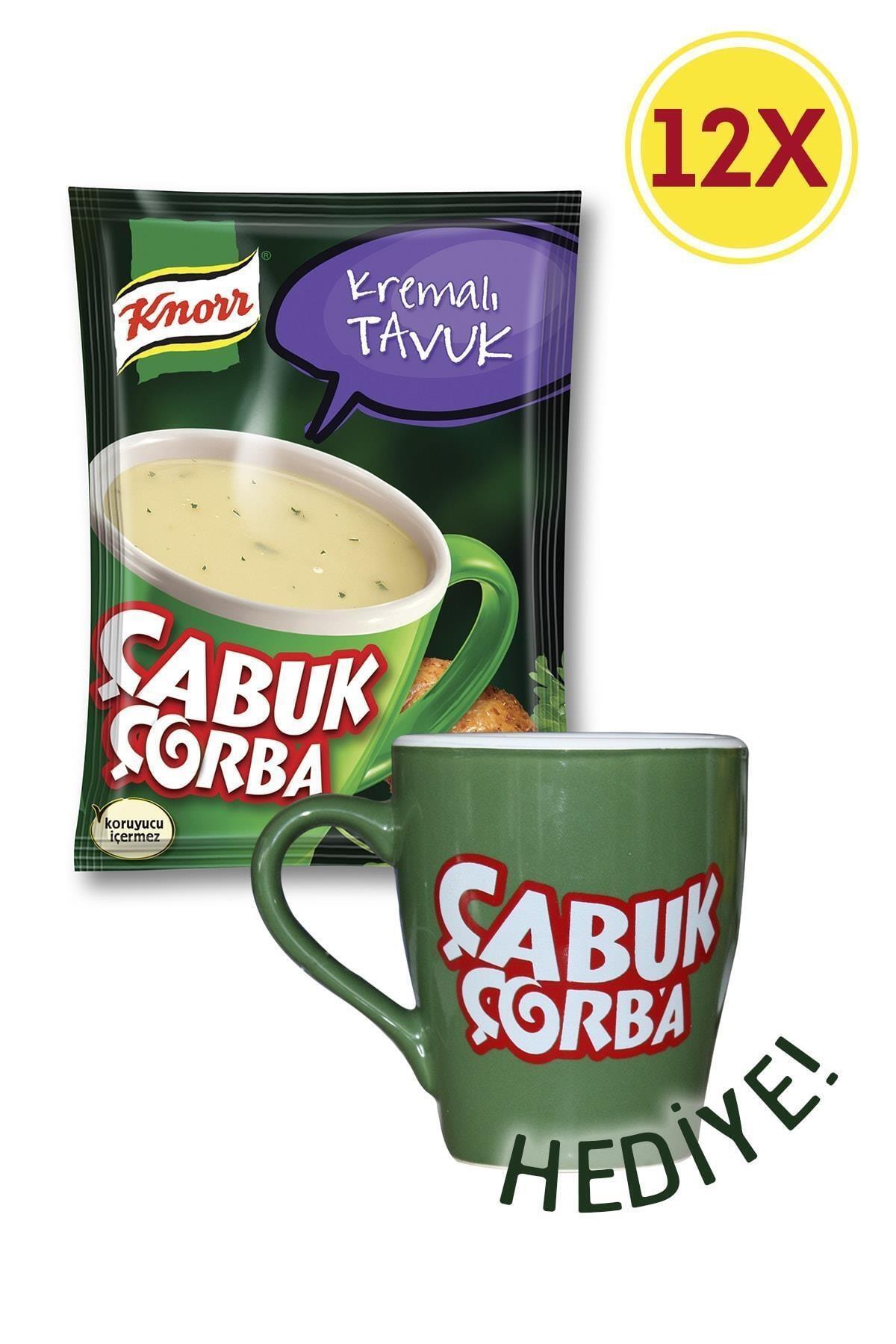 Knorr Çabuk Çorba Kremalı Tavuk X 12 + Porselen Kupa Hediyeli 1
