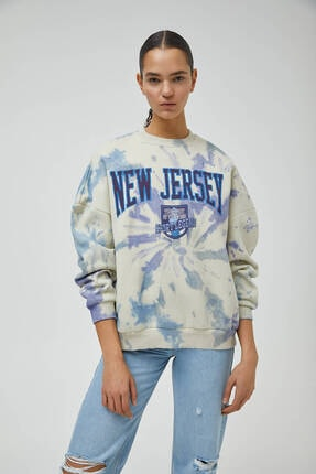 Pull & Bear Kadın Beyaz Sweatshirt
