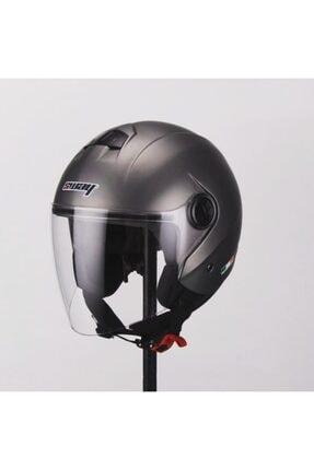 Sway Kask Metalıc Grey Yarım Açık Motosiklet Kask  715