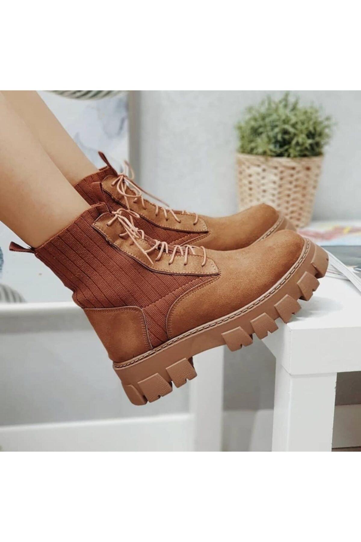 KULOĞLU AYAKKABI Kadın Taba Çorap Postal Bot 2