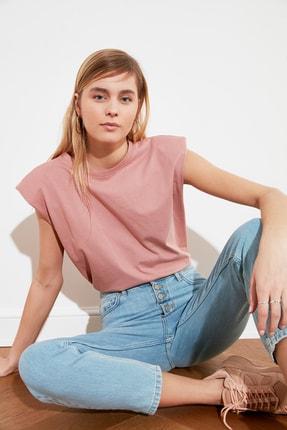 TRENDYOLMİLLA Gül Kurusu Vatkalı Basic Örme T-Shirt TWOSS20TS1553
