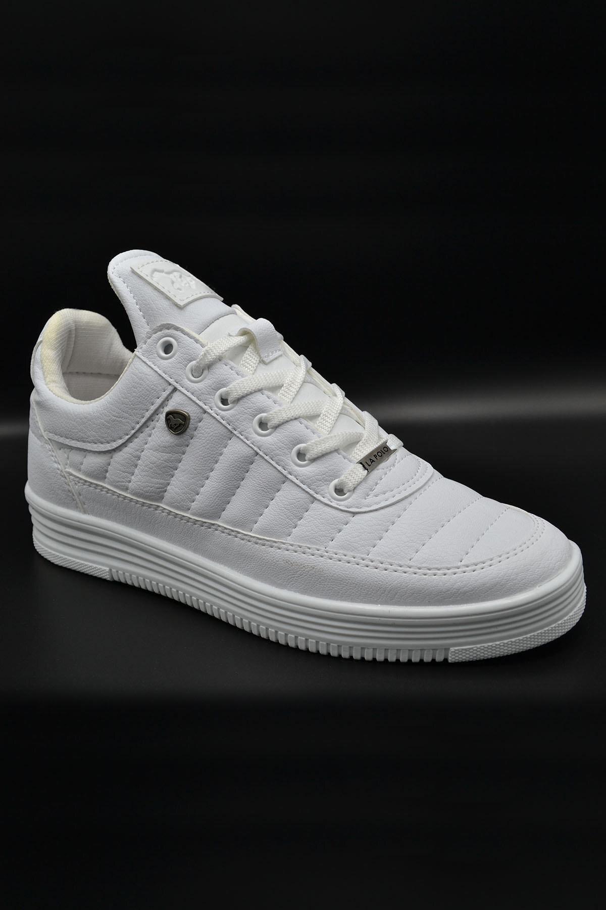 L.A Polo 07 Beyaz Beyaz Dikişli Taban Unisex Spor Ayakkabı 1