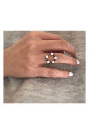 Cadeau Jewellery Gerçek Minik Incili Ayarlanabilir 925 Ayar Eskitme Gümüş Tasarım Yüzük