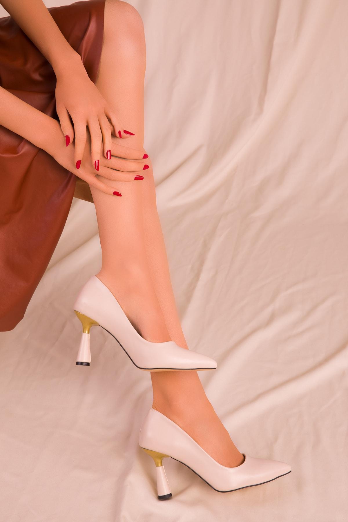 SOHO Bej Kadın Klasik Topuklu Ayakkabı 15783 1
