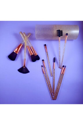 SetuBeauty 12'li Glossy Gold Makyaj Fırçası Seti