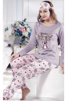 Çekmece Kadın Lila Desenli Uzun Kol Pamuklu Pijama Takım 2799