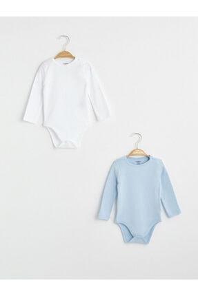 LC Waikiki Unisex Bebek Mavi Beyaz Çıtçıtlı Body