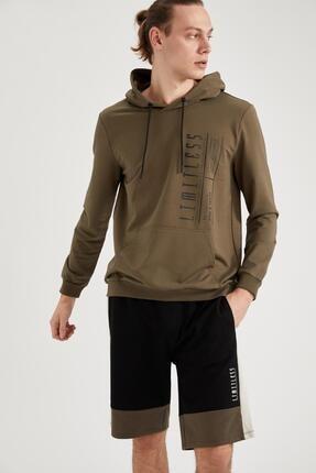 DeFacto Erkek Limitless Baskılı Slim Fit Kapüşonlu Sweatshirt