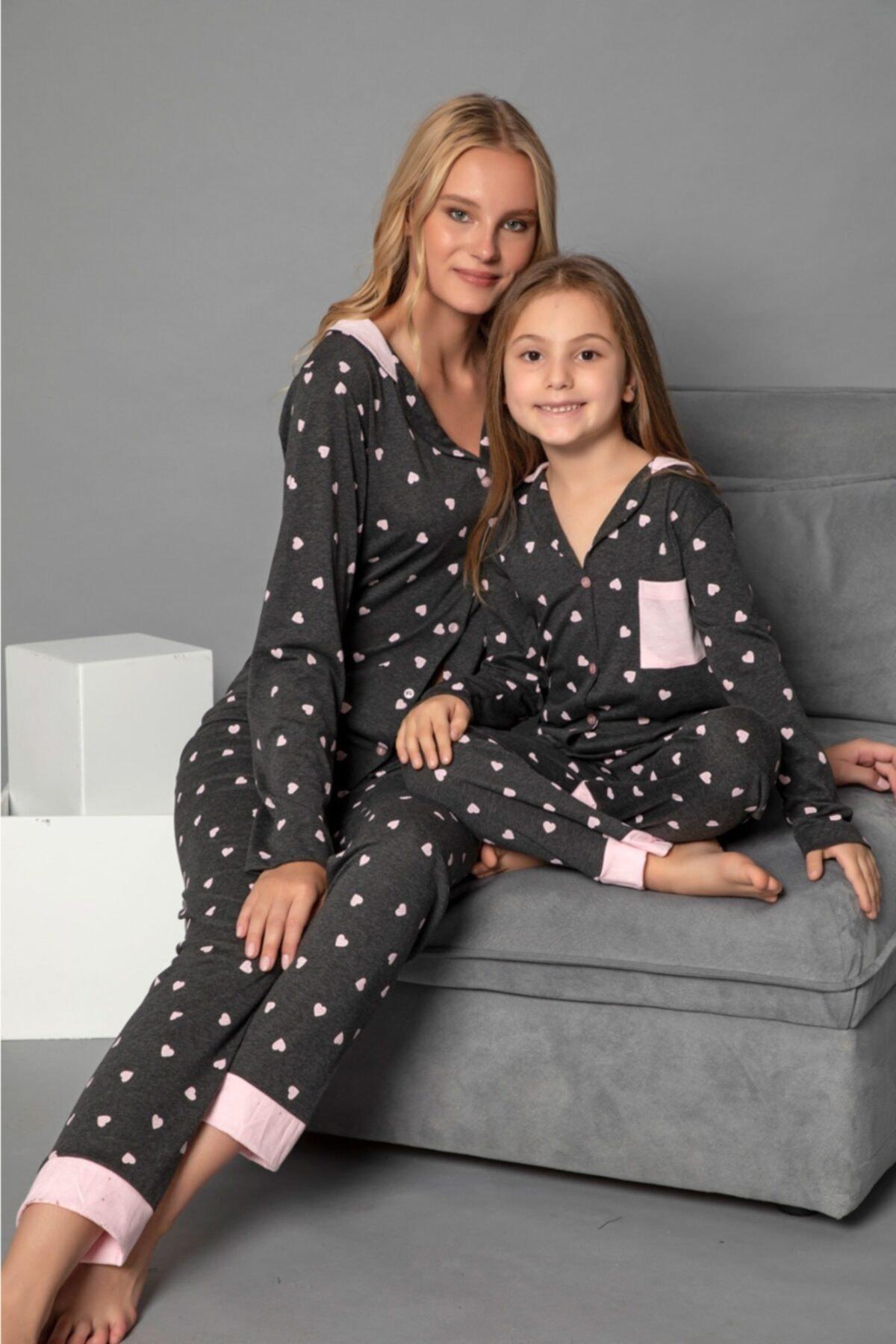 modalizy Anne Kız Siyah Kalp Desenli Pijama Kombinleri 1