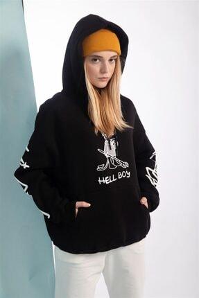 Trendiz Unisex Siyah Baskılı Hell Boy Oversize Sweatshirt