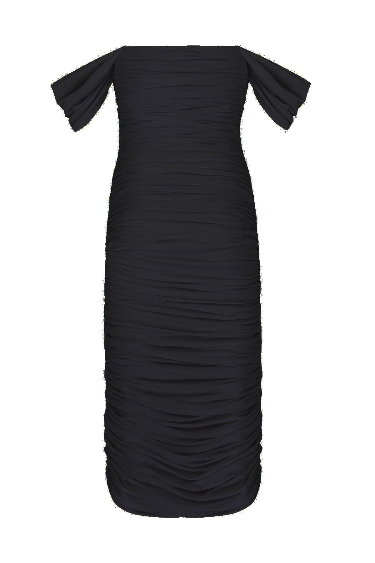 Whenever Company Siyah Düşük Kol Degajeli Drapeli Midi Elbise 2