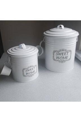 evvehediyelikesya 2li Beyaz Galvaniz Ölçekli Deterjan Kutusu Deterjanlık