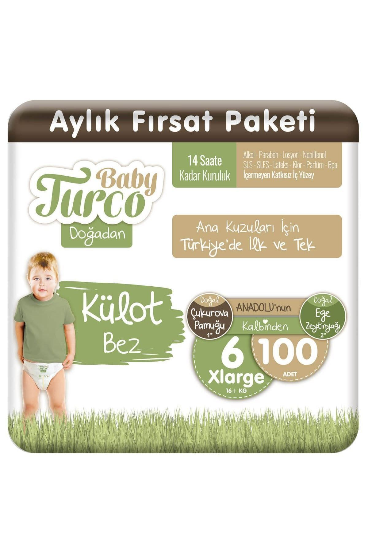 Baby Turco Doğadan Külot Bez 6 Numara Xlarge 100 Adet 1