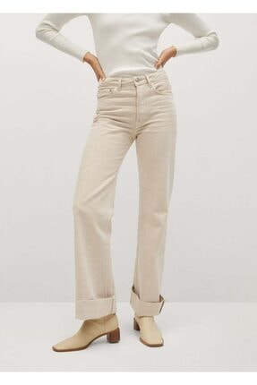 MANGO Woman Kadın Bej Bol Kesim Yüksek Bel Jean Pantolon