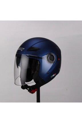 Sway Kask 702b Yarım Açık Güneş Vizörlü Mavi Motosiklet Kask