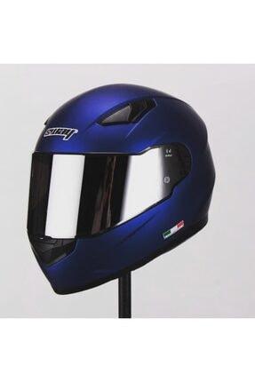 Sway Kask 816 Kapalı Mat Mavi Ayna Camlı Motosiklet Kask