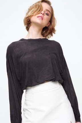 Trend Alaçatı Stili Kadın Antrasit Bisiklet Yaka Beli Lastikli Süet Crop Sweatshirt MDS-509-SU2