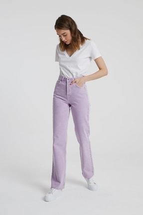 CROSS JEANS Dıana Lila Rengi Yüksel Bel Dad Straight Fit Pantolon